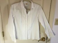 Woman's Talbots size 10 petite white hidden buttons long sleeve cotton blouse