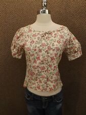 True Vtg 1950s New Look Cottage Floral Cotton Cropped Fitted Shirt Sz S NOS NEW