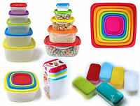 Clear Plastic Kitchen Food Storage Box Containers + Multi Colour Lid Stacking