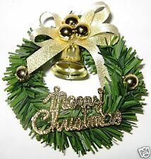Fridge magnet Christmas wreath with gold ribbon n bell