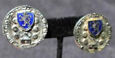 Vintage Signed CORO Silvertone ROYAL SHILD COAT of ARM Clip-On Earrings