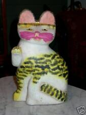 Hand Painted Wood Cat Figure Statue Figurine