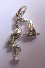 Sterling Silver Large New Baby Stork Charm