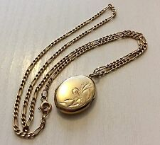 Lovely Quality Ladies Hallmarked Vintage 9ct Gold Locket Pendant On 9ct Chain