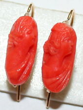 VINTAGE 9K GOLD FINE PINK CORAL CAMEO LADY'S PROFILE HAND CARVED SMALL EARRINGS