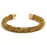 Gold Crushed Crystal Dust Open Cuff Bangle Bracelet made with Swarovski Elements