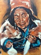 "ORIGINAL 18"" X 24"" Josée La Roche Québec Artist - Old woman OIL ON CANVAS"