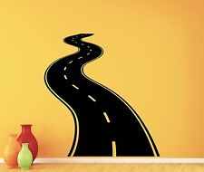 Road Way Wall Decal Tire Tracks Highway Garage Vinyl Sticker Decor Mural 25thn
