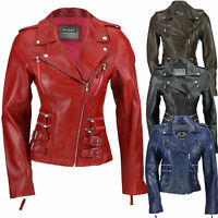 Ladies Womens Tan Blue Real Leather Fitted Vintage Biker Style Zip Buckle Jacket