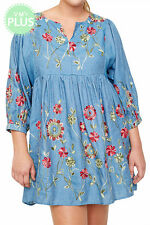 NWT Plus Size 1X Denim Cotton Floral Embroidered Empire Waist Dress Tunic Top