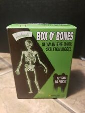 """New! Accoutrements Box O' Bones, 12"""" Tall Glow In The Dark Skeleton Model Kit."""