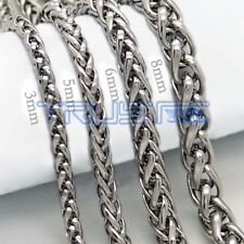 Necklace Silver Stainless Steel Unisex's Chain Men Women  20-30 inches 3-8mm C15