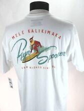 REYN SPOONER T-Shirt Mele Kalikimaka Santa Surfing Aloha White Cotton Men's M