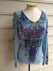 LIVE AND LET LIVE STUD DETAIL DESIGN LONG SLEEVE T-SHIRT TOP size PXL NWOT