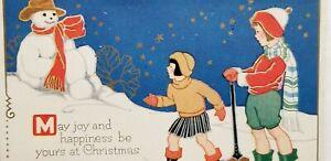 Antique 1910s Postcard CHRISTMAS SNOWMAN & CHILDREN Art Deco GILDED E3
