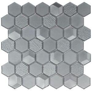 Modern Hexagon Grey Glass Mosaic Tile Backsplash Kitchen Wall Bathroom MTO0303