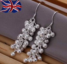 925 Sterling Silver plated Cluster Earrings Drop Dangle Grape Ladies Gift UK