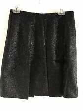 Prada Made in Italy Black Metallic Open Pleated Skirt Sz US 4 IT 40