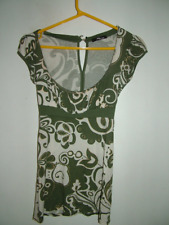 White Green Gold Tunic Top 6 Jane Norman, floral long length 70's style  vgc