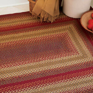 FARMHOUSE COUNTRY PRIMITIVE CIDER BARN RED BRAIDED JUTE RUG ~ MULTIPLE SIZES