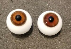Vintage 21mm Blown Glass Brown Glass Round  Doll Eyes