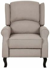 Beige Modern Wingback Linen Fabric Recliner Chair Tan Accent Chairs Recliners