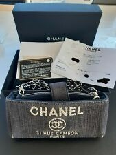 Chanel Deauville Authentic Denim Wallet With Chain O Case Crossbody Bag