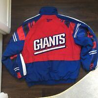 VTG 1990s NY Giants Reebok NFL Pro Line Full Zip Quilted Lined Winter Coat