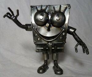 Spongebob Squarepants 6 Inch Recycled Scrap Metal Sculpture Art Hand Made RARE