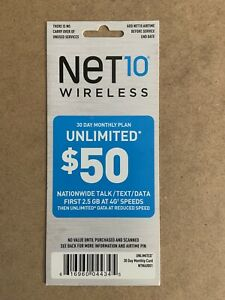 Net10 Wireless 30 Day Monthly Plan Unlimited $50 Talk/Text/Data