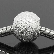 30 Novità Distanziatori Perle Perline Sfera Foro Largo Argentato 10mm Dia.
