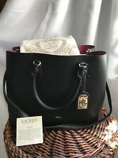 RALPH LAUREN DRYDEN MARCY XL TOTE BLACK/RED LEATHER