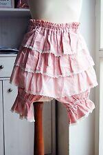 Heart E Japan lagenlook cotton polka dot pink lace tiered mori girl skirt shorts