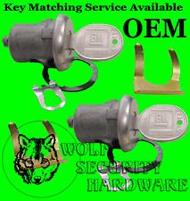 GM Chevy Door Lock Key Cylinder Tumbler Barrel Pair Chrome 2 GM Logo Keys