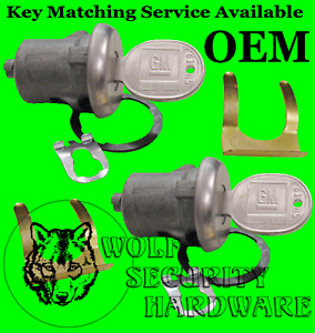 GM Chevy Door Lock Key Cylinder Tumbler Barrel Pair Chrome 2 GM Logo Keys