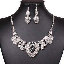 Hot Tibet silver Heart Pendant Women Chunky Bib Statement Necklace Earrings Set