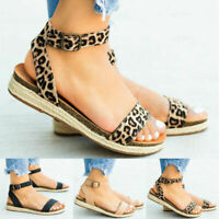 Women Ankle Strap Flatform Wedges Shoes Espadrilles Platform Sandals Size 6-10.5