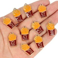 10pc Enamel simulation French Fries Charms Pendant DIY Jewelry Necklace Keychain