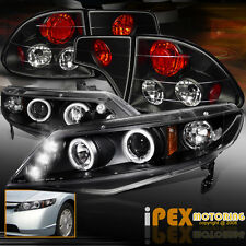 2006-2011 Honda Civic 4Dr FA Dual Halo Projector LED Headlights+Tail Light Black