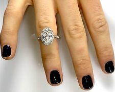 3.42 Ct Oval Halo GENUINE Diamond Engagement Ring SI2