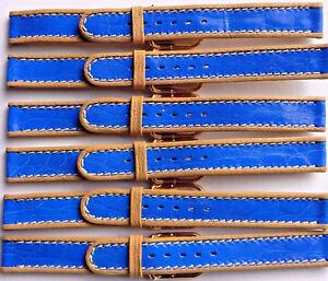 LOT OF 6 14mm FLEURUS GLOSSY BLUE STRIPE ON TAN CALF LEATHER WATCH BAND / STRAP