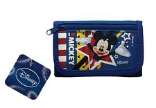 BLUE Disney Mickey Mouse Tri-Fold Wallet Licensed Boys Trifold Canvas Coin Purse