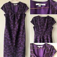 Boden Purple Pencil Dress UK8 Empire Floral Fitted Smart Casual Summer Cap Slv