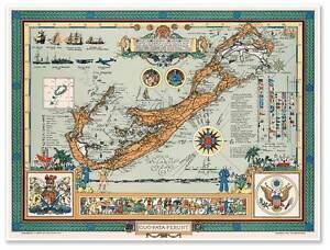 "Atlantic Nautical MAP of Bermuda or Old Somers Island circa 1947 24"" x 32"""