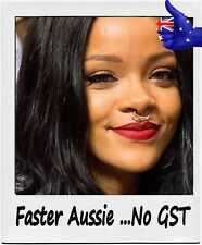 Iconic celebrity Rihanna diamonds & gold fake Septum nose ring clip on jewellry