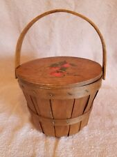 SMALL WOODEN LINED BASKET-PURSE 7 X 6 ;handpainted;STRAWBERRIES DESIGN
