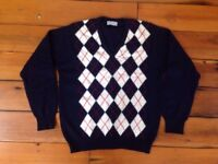 "Vtg Lyle Scott 100% Super Lambs Wool Argyle V-Neck Sweater Scotland 44"" Chest"