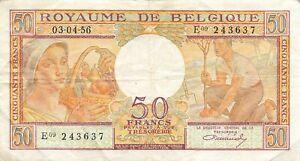 Belgium 50 Francs 1956 P-133b