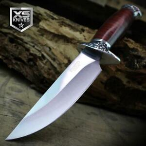 Combat SURVIVAL Hunting Tactical BOWIE Ornate Wood Fixed Blade Knife