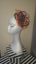 Navy blue and orange fascinator for wedding/races special occasion